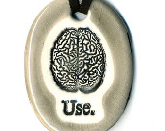 Use Your Brain Ceramic Necklace in Gray