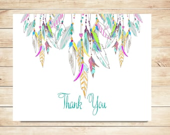Whimsical Thank You Cards - Feather Thank you Cards - Whimsical, Feather Stationery, Stationary