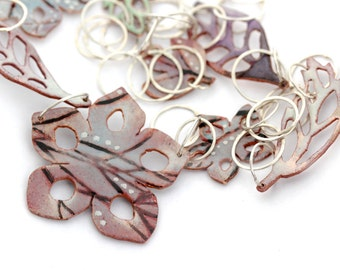 Long Hand forged organic  links and Enamel Necklace