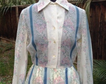 Vintage 60s floral print day dress ~ retro ~ pleated skirt ~ white and blue ~ stripes
