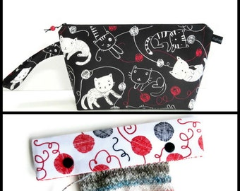 Wedge Bag, Small-Project Size Knitting Bag, Kitties and yarn on black, and Optional Needle Keeper