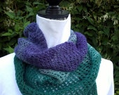 Shawlette or scarf, Violets is handknit of 100% handspun wool in limited edition colors