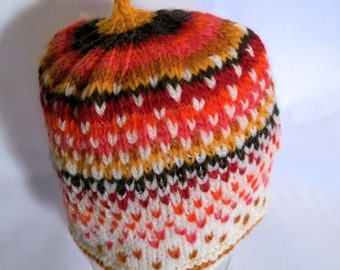 Handspun toddler hat, White to Fire. A soft wool, silk and glitter hat to keep your precious one warm. OOAK
