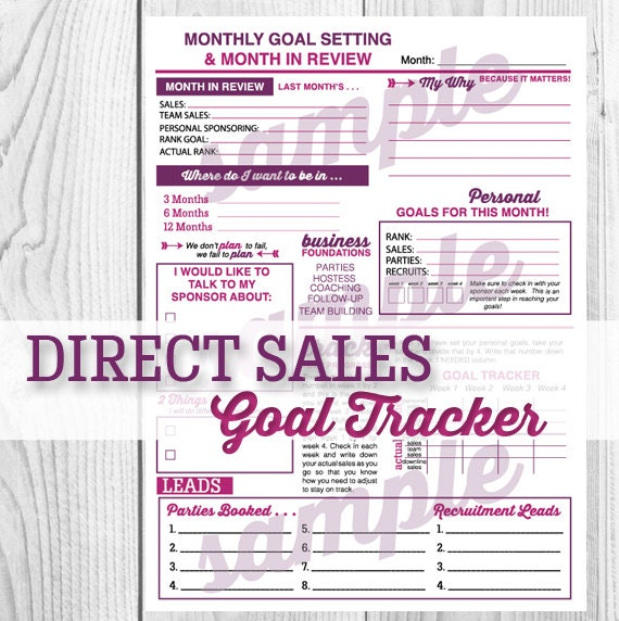 Direct Sales MONTHLY GOAL WORKSHEET by BackyardDaisies on Etsy