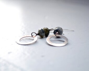 Labradorite and Sterling Silver Dangle Earrings - Everyday Earrings - Grey Blue Gemstone Earrings - Gemstone Earrings - Gift for Her - E3055