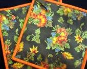 Pumpkin Print Pot Holders set of 2