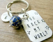 Personalized You Rock My World Keychain with optional initial disc, gemstone inlay globe bead, boyfriend gift, musician gift