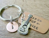 Guitar Keychain, Weapon of Choice, guitarist keychain, acoustic guitar, musician gift, guitar player gift, optional initial disc