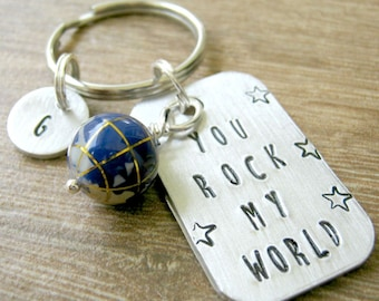 Personalized You Rock My World Keychain with optional initial disc, gemstone inlay globe bead, boyfriend gift, musician gift