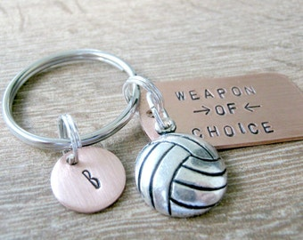 VOLLEYBALL Keychain, Weapon of Choice, volleyball player gift, volleyball coach gift, optional initial disc, volleyball team