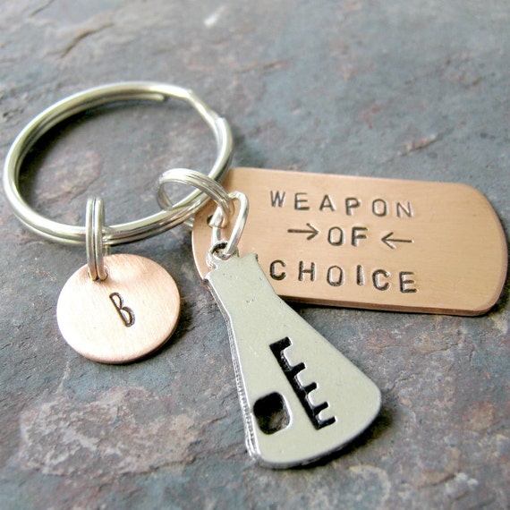 BEAKER Keychain, Weapon of Choice, scientist gift, chemist gift, chemistry keychain, science, chemicals, optional personalized initial disc