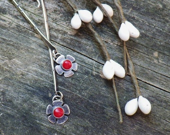 Red Coral Sterling Silver Bar Dangle Earrings