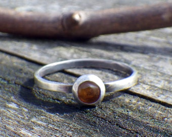 Petite 5mm Amber Stacking Ring ... sterling silver amber ring amber stacking ring