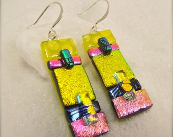Bohemian jewelry, Dichroic Earrings,fused glass earrings,fused dichroic earrings,handmade jewelry, women's jewelry, dichroic handmade,fusion