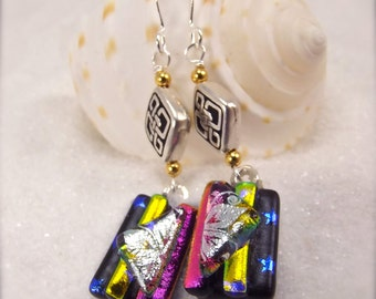 Modern dichroic earrings, Handmade fused glass jewelry, glass fusion jewelry, dichroic glass cabochons, Hana Sakura, statement earrings