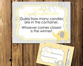 Printable Yellow Elephant Baby Shower Candy Guessing Game - Instant Download