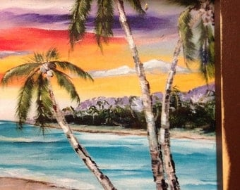 """Chairs on beach print of acrylic painting palm trees tropical sunset art framed 8"""" x 15"""""""