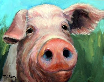 Pig Art Print of Original Pig Painting by Dottie Dracos, Pig Portrait on Blue and Green, Farm Animals, Pigs, Various Sizes