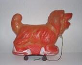 Vintage 1960s Abernathy Barking Dog Pull Toy Red Ball Jets Promo