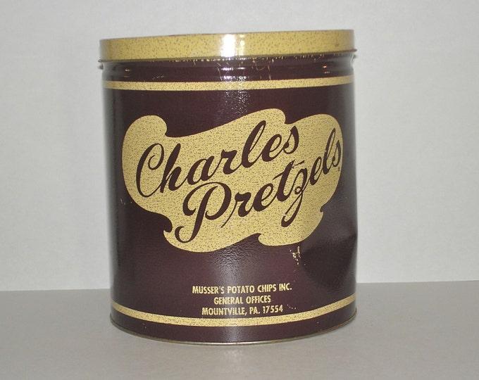 Vintage Charles Pretzels Can Brown Tin