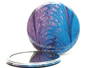 Marbled Pocket Mirror 16, Purple and Blue Mirror, Marbled Paper Mirror, Small Glass Mirror, Stocking Stuffer, Party Favor, Gift under 5