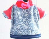 lacey girl COURTNEYCOURTNEY small dog S cute flowers upcycled interlock cotton knit outfit top hot pink floral blue lace