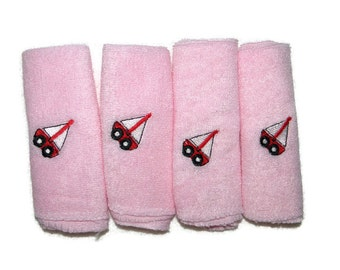 Embroidered Baby Washcloths Set of 4 Pink with Red Sailboats - Ready to Ship