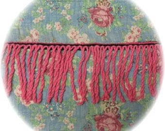 Vintage Chenille Bedspread Bullion Quilt Trim Fringe 3 yards 18 inches 4 inches Wide Hot Pink Cotton