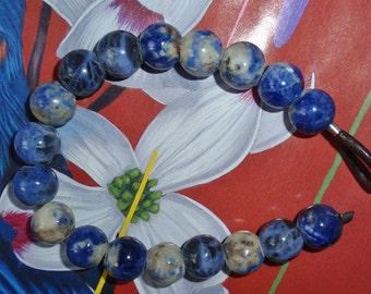 Sodalite Gemstone 12mm Round With A 4mm Hole Gemstone Bead Strand
