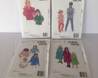 Childrens  Kwik Sew Patterns Sizes:  XS-S-M-L-XL