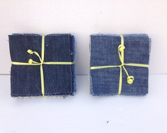 "50 5"" Recycled Upcycled Jean Denim Quilt Blocks -  5 inch Squares all Cotton for RAG quilting or Regular quilting"