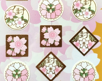 Cherry Blossom Stickers - Traditional Japanese - Sealed A Letter - Kanji Stickers - Washi Paper (S90)
