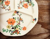 Antique Divided Serving Plate - Floral Plate
