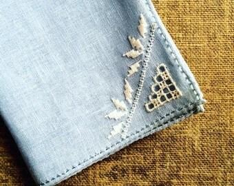 5 Antique Napkins -  Hand Worked Linen - Blue