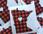 Minnesota Love Sticker - Minnesota Flannel Bumper Sticker Buffalo Check by Oh Geez Design