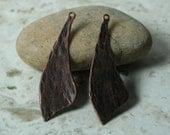 Hand hammered antique copper dangle drop pendant size 45x13mm, 4 pcs (item ID XW05107ACK)