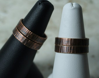 Hand hammered textured antique copper band ring, one piece (item ID ACV)