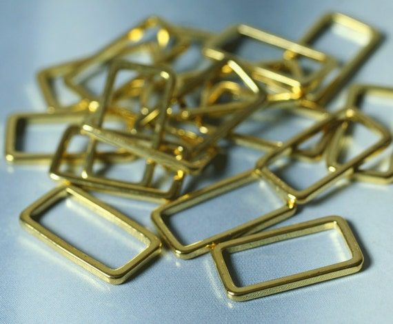 Gold plated rectangle link connector size 15x8mm, 16 pcs (item ID H1091GP)
