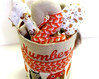 Counting Bucket in Natural Flax Linen and Colorful Forest Animal Prints, Owls, Hedgehogs, Snails, Mushrooms, Rabbits, Squirrel