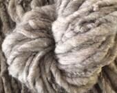 Huge chunky squishy handspun yarn 56 yards CVM wool and mohair natural undyed Iowa grey extreme yarn  arm knit bulky chubby fat bulk