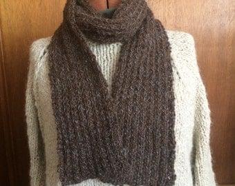 Alpaca handspun handknit brown ribbed scarf
