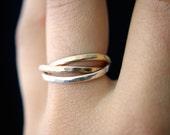 Interlocking rings, Set of 3 Rose Gold, Gold, Silver interlocking ring, russian ring, wrap ring, gold infinity ring, wedding ring