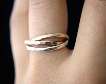 Interlocking rings, Set of 3 Rose Gold, Gold fill, Silver interlocking ring, russian ring, wrap ring, gold infinity ring, wedding ring