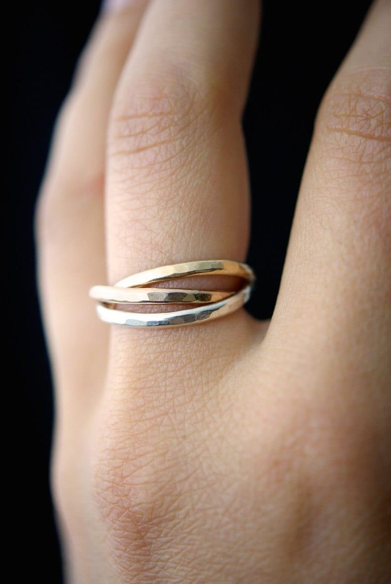 Interlocking Rings Set Of 3 Rose Gold Gold Fill Silver