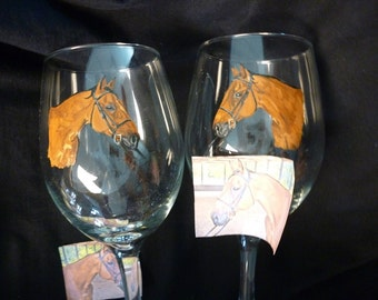 Stallion Horse Hand Painted Wine Glass Made to Order by Pigatopia