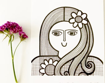 New A4 Girl With Flower screen print  by Jane Foster  - hand printed signed LIMITED EDITION