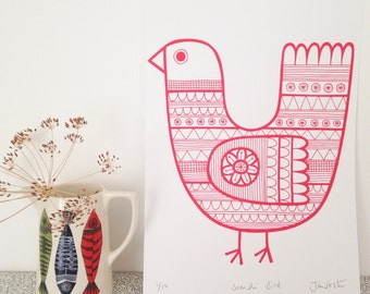 New Scandi red bird screen print by Jane Foster  - hand printed signed LIMITED EDITION