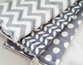 Burp Cloth Gift Set for Baby Girl or Baby Boy - Neutral Modern Essentials - Gray & White Trio II - Set of 3 Burp Rags Chevron Dot Vine