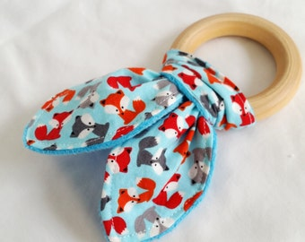 Natural Wooden Teether with Crinkles - Mini Fox in Sky - Baby Gift Neutral - Natural Teething Solutions