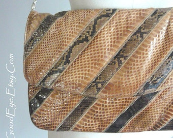 Vintage VARON Convertible Clutch Purse Snakeskin Reptile Python Shoulder Bag Brown Envelope Medium